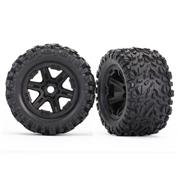 Traxxas Tires & wheels, assembled, glued (black wheels) (2)